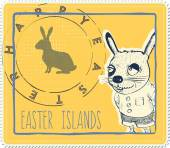 Easter bunny postage stamp — Stock Vector