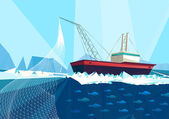 Trawler in arctic sea — Stockvektor