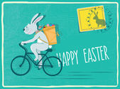 Easter card with bunny on bicycle — Stock Vector