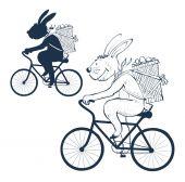 Easter bunny on bike — Stock Vector
