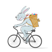 Easter bunny on bike with eggs — Stock Vector