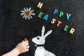 Easter greetings on  black board — Stock Photo