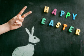 Easter symbols on school board — Stock Photo