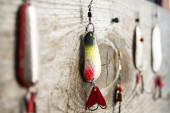 Fishing equipment on wood — Stock Photo
