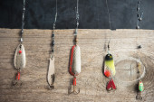 Fishing equipment on wood — Stock Photo