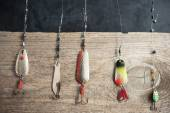 Fishing equipment on wood — Stockfoto