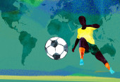 Soccer player kicks football — Stock Photo