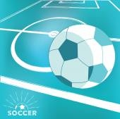 Soccer ball on field background — Vector de stock