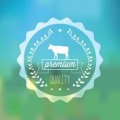 Beef line art label — Stock Vector