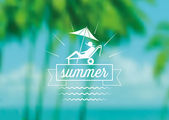 Summer icon on blurred  background — Stock Vector