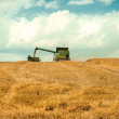 Harvester and tractor cropping grain — Stock Photo #79032298