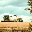 Harvester and tractor cropping grain — Stock Photo #79032796