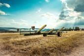 Harvesting equipment in field — Stock Photo