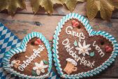 Gingerbread Oktoberfest hearts — Stock Photo