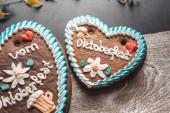Two gingerbread Oktoberfest hearts — Stock Photo