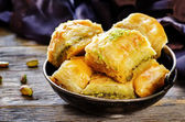 Baklava with pistachio. turkish traditional delight — Stock Photo