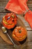 Baked pumpkin stuffed with beef and vegetables — Stock Photo
