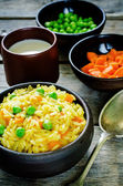 Indian vegetarian pilaf, Biriyani, with carrots and green peas — Foto Stock
