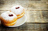 Fresh doughnuts with jam for Hanukkah — Stock Photo