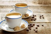 Cup espresso coffee with cane sugar — Stock Photo