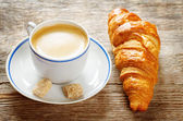 Fresh Breakfast with croissants and espresso — Stock Photo