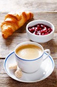 Fresh Breakfast with croissant, espresso and jam — Stock Photo
