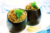 Eggplant stuffed with bulgur and vegetables — Stock Photo
