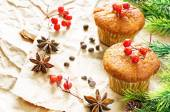 Muffins with cinnamon and chocolate drops — Stock Photo