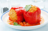 Pepper stuffed with meat and rice — Stock Photo