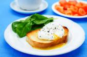 Poached egg with salmon and spinach — Stock Photo