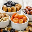Mix of dried fruits and nuts — Stock Photo #63225665