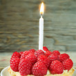 Tartlet with raspberry and cream cheese and a candle — Stock Photo #63226343