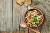 Barley porridge with mushrooms — Stock Photo