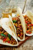 Tacos with meat, corn and peppers — Stock Photo