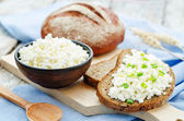 Healthy Breakfast with whole grain rye bread, cottage cheese and — Stock Photo