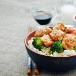 Teriyaki chicken and broccoli stir fry with rice — Stock Photo #72492253