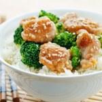 Teriyaki chicken and broccoli stir fry with rice — Stock Photo #72492269