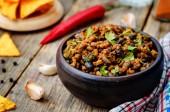 Vegetarian chili with cilantro — Stock Photo