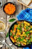 Potatoes pumpkin gnocchi with bacon, cilantro and mint — Foto de Stock