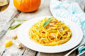 Pumpkin pasta with Parmesan cheese and sage — Stock Photo