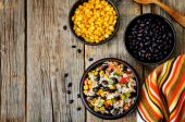 Lime black beans corn rice — Stock Photo
