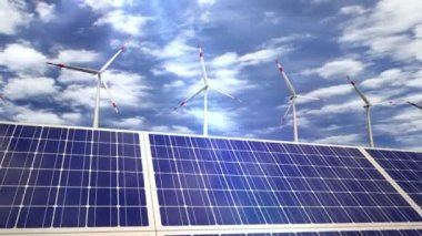 Solar panels and wind turbines - passing by — Stockvideo