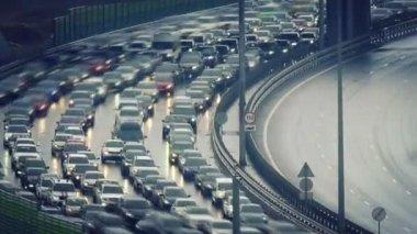 Traffic jam on speed highway — Stock Video