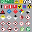 Warning and safety signs vector set — Vetor de Stock  #64459061