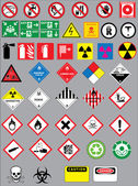 Warning and safety signs vector set — Stock Vector