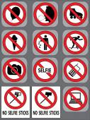 12 prohibition signs vector set — Stock Vector
