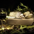 Autumnal still life composition with lard, bread and red wine — Stock Photo #58630135
