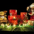 Christmas still life composition on a green table cloth — Foto Stock #59475333