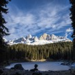 Carezza lake in winter with frosty surface  — Stock Photo #61624063