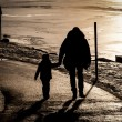 Father and son near a frozen lake — Stock Photo #66125385